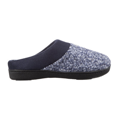 Women's Heathered Knit Jessie Hoodback Slippers Navy/Blue Profile