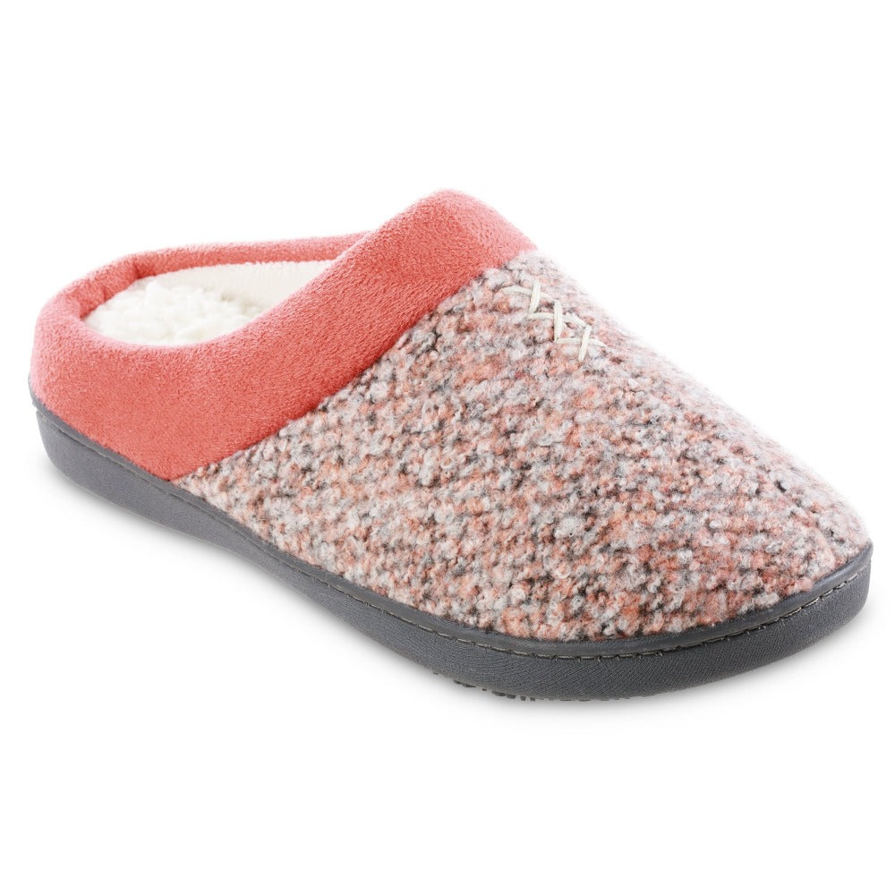 Women's Heathered Knit Jessie Hoodback Slippers in Sunblush Coral orange Right Angled View