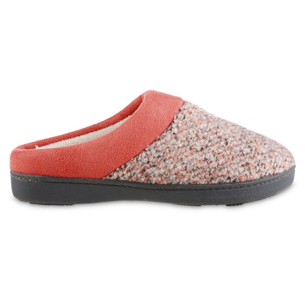 Women's Heathered Knit Jessie Hoodback Slippers in Sunblush Coral orange Profile
