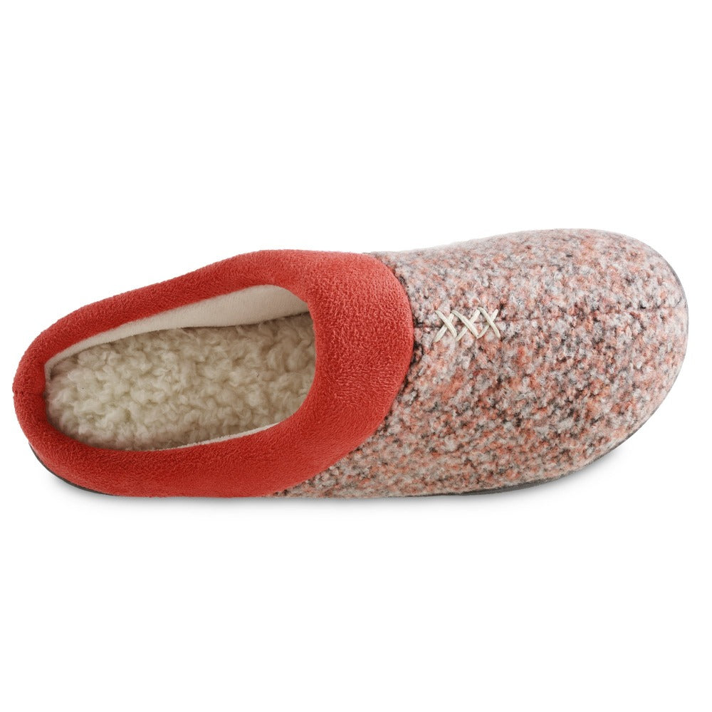 Women's Heathered Knit Jessie Hoodback Slippers in Sunblush Coral orange Inside Top View