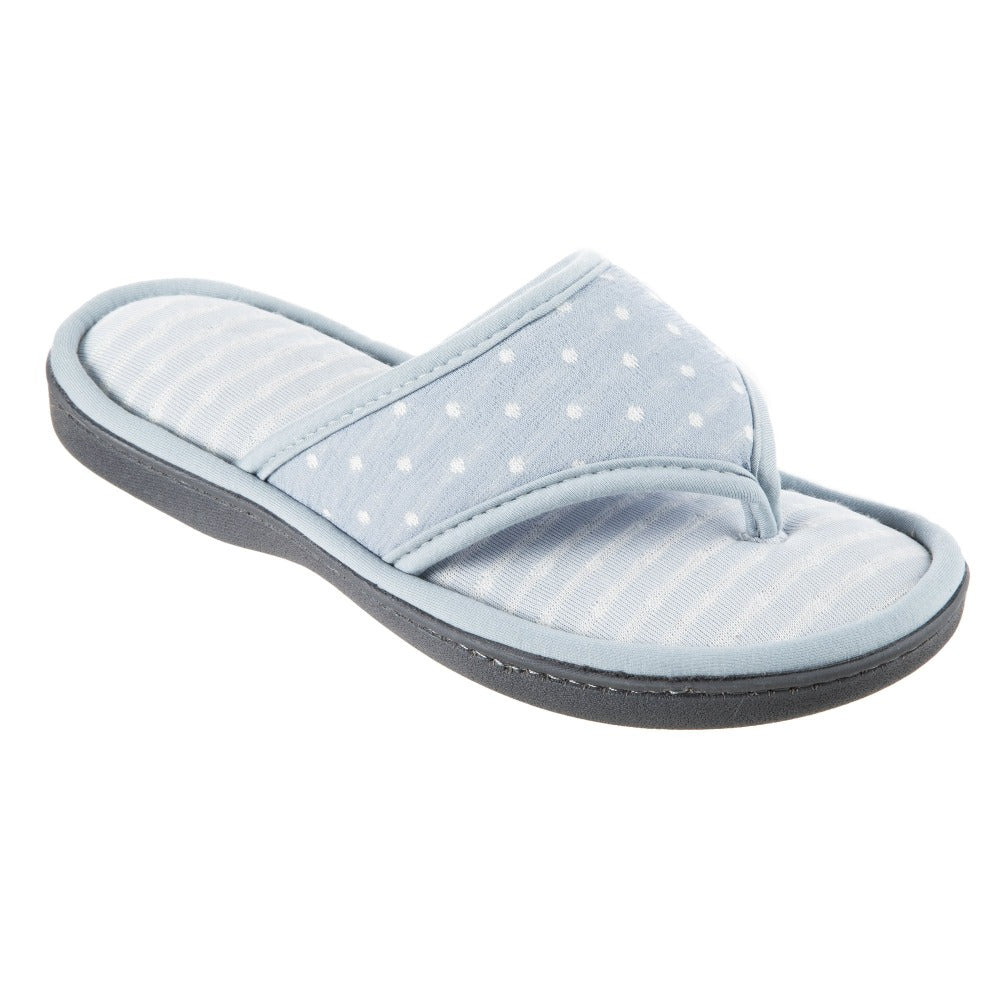 Women's Jersey Ada Thong Slipper in Pool Light Blue Right Angled View