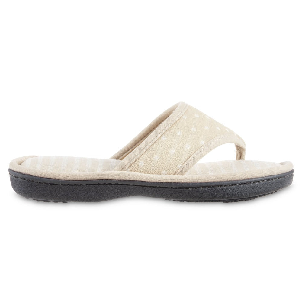 Women's Jersey Ada Thong Slipper in Sand Trap Side View