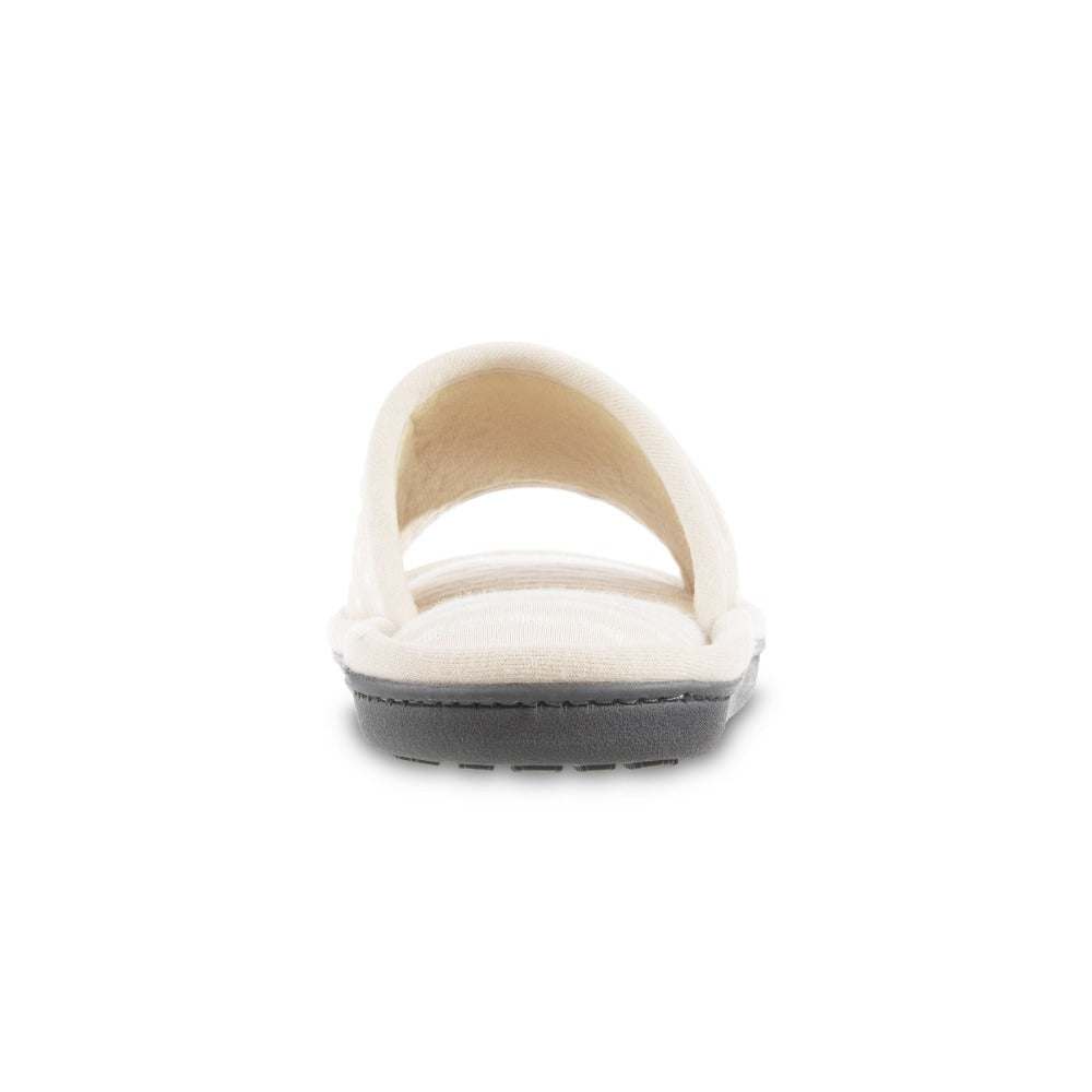 Women's Jersey Ada Slide Slipper in Sand Trap (Beige) Heel View