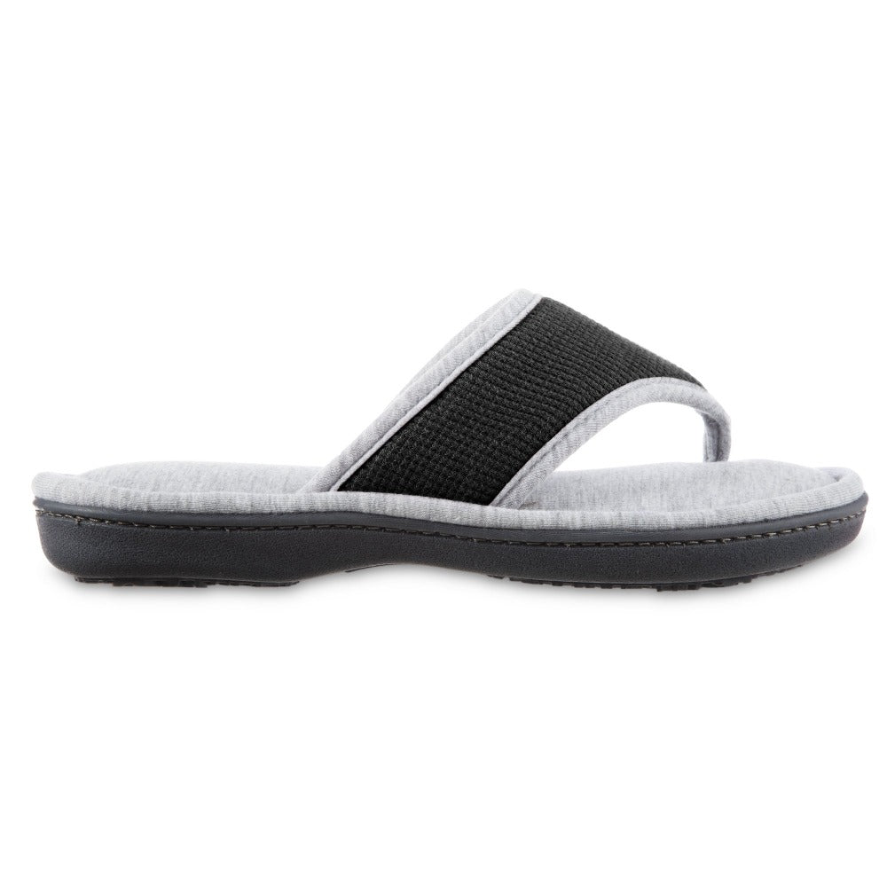 Women's Waffle Knit Helena Thong Slipper in Black Profile View