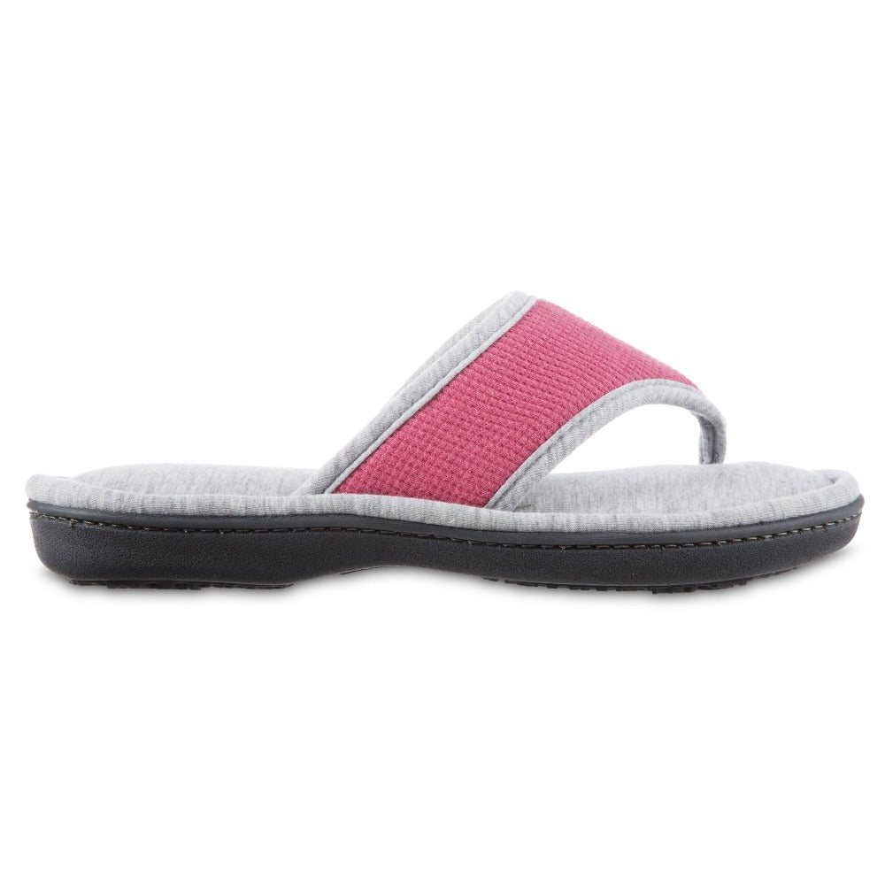 Women's Waffle Knit Helena Thong Slipper in Strawberry (Pink) Profile View