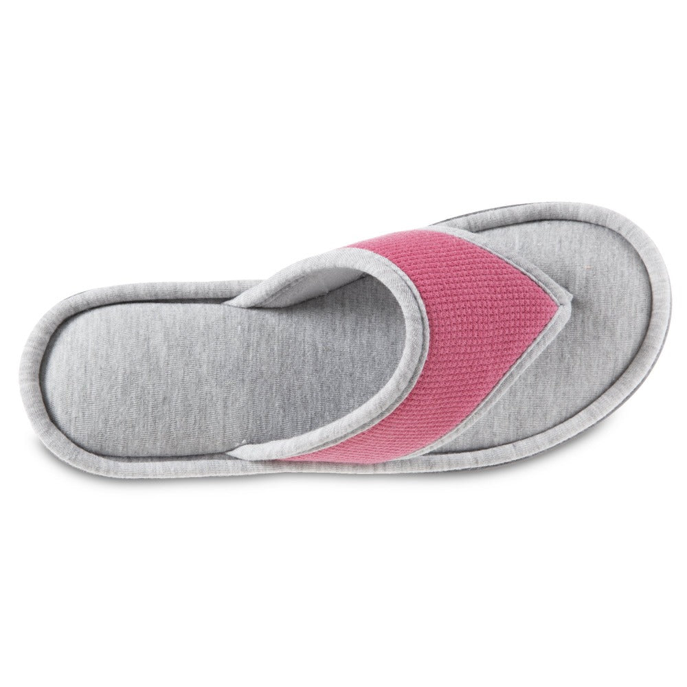Women's Waffle Knit Helena Thong Slipper in Strawberry (Pink) Top View