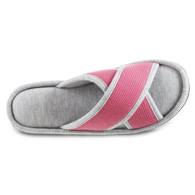 Women's Waffle Knit Helena X-Slide Slipper in Strawberry (Pink) Top View