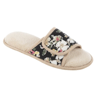 Women's Petunia Floral Slide Slipper in Sand Trap (Beige) Quarter View