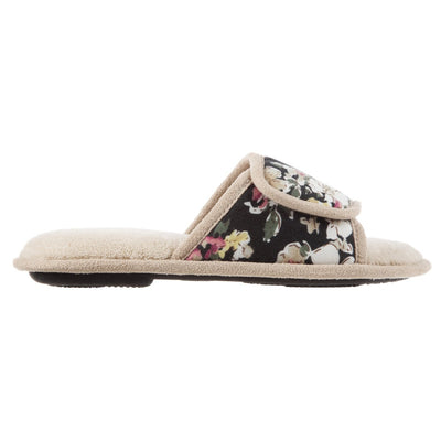 Women's Petunia Floral Slide Slipper in Sand Trap (Beige) Profile View
