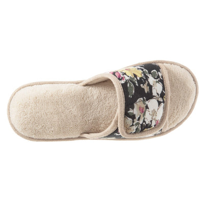 Women's Petunia Floral Slide Slipper in Sand Trap (Beige) Top View