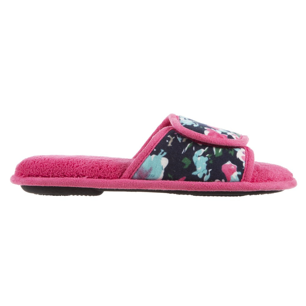 Women's Petunia Floral Slide Slipper in Strawberry (Pink) Profile  View