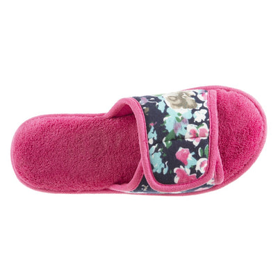 Women's Petunia Floral Slide Slipper in Strawberry (Pink) Top View
