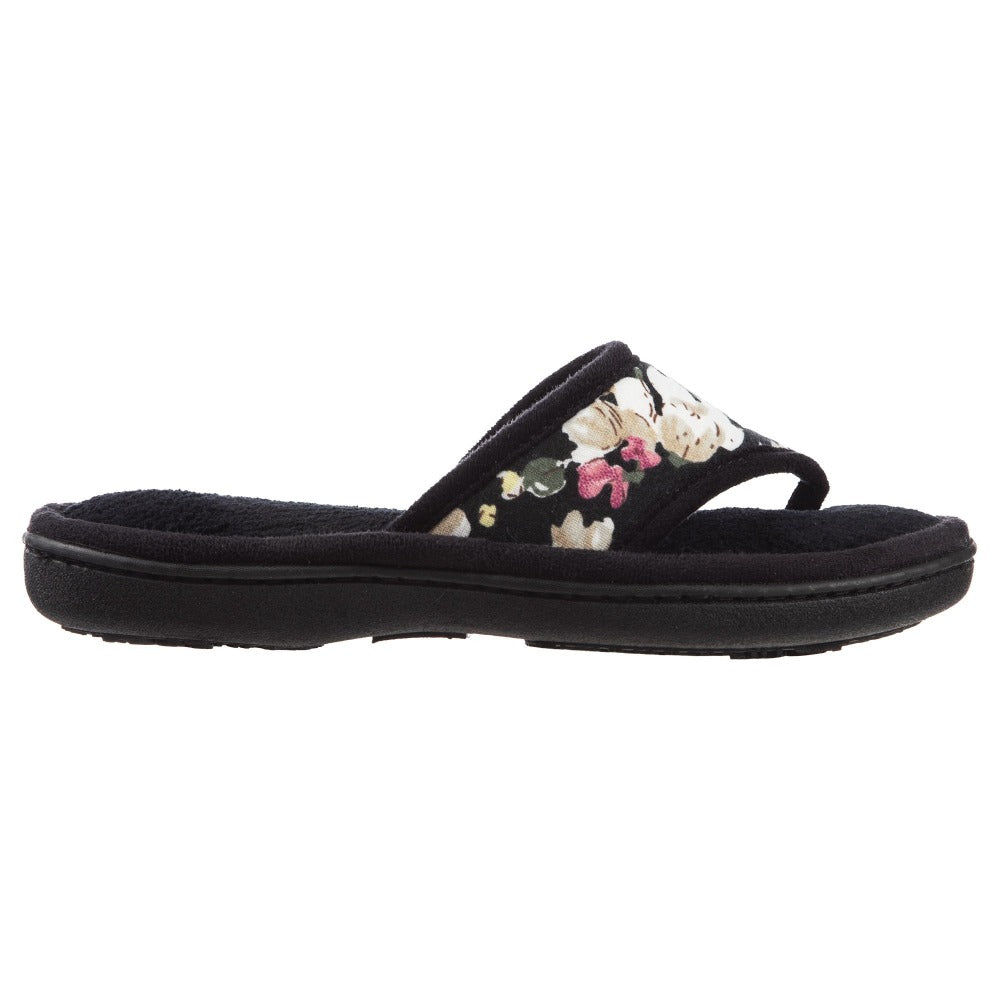 Women's Petunia Floral Thong Slipper Black Profile View