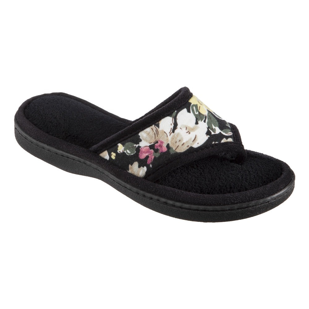 Women's Petunia Floral Thong Slipper Black Quarter View