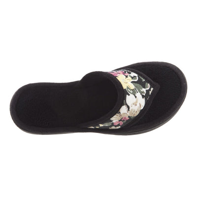 Women's Petunia Floral Thong Slipper Black Top View