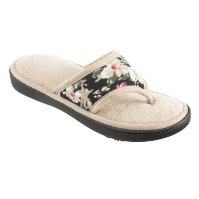 Women's Petunia Floral Thong Slipper Sand Trap (Beige) Quarter View