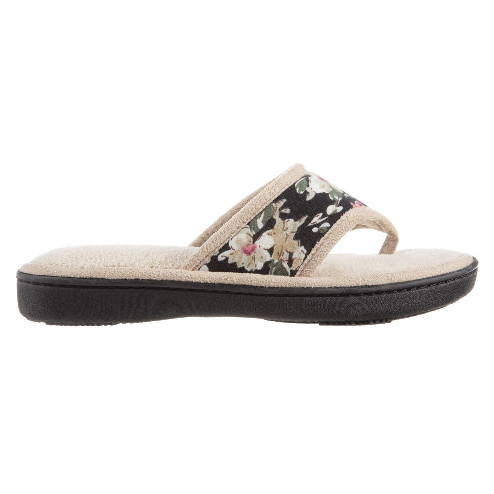 Women's Petunia Floral Thong Slipper Sand Trap (Beige) Profile View