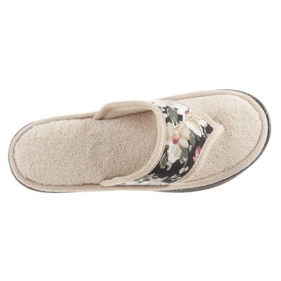 Women's Petunia Floral Thong Slipper Sand Trap (Beige) Top View