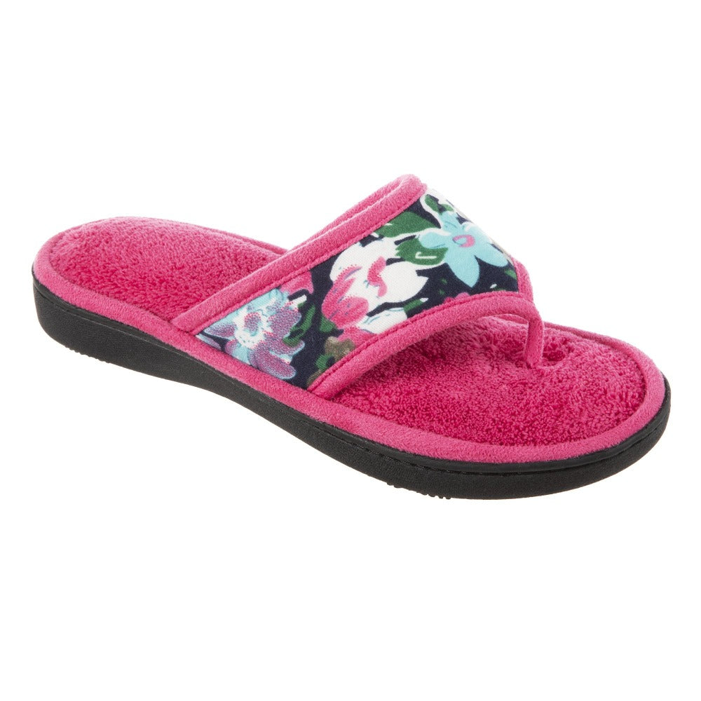 Women's Petunia Floral Thong Slipper Strawberry (Pink) Quarter View