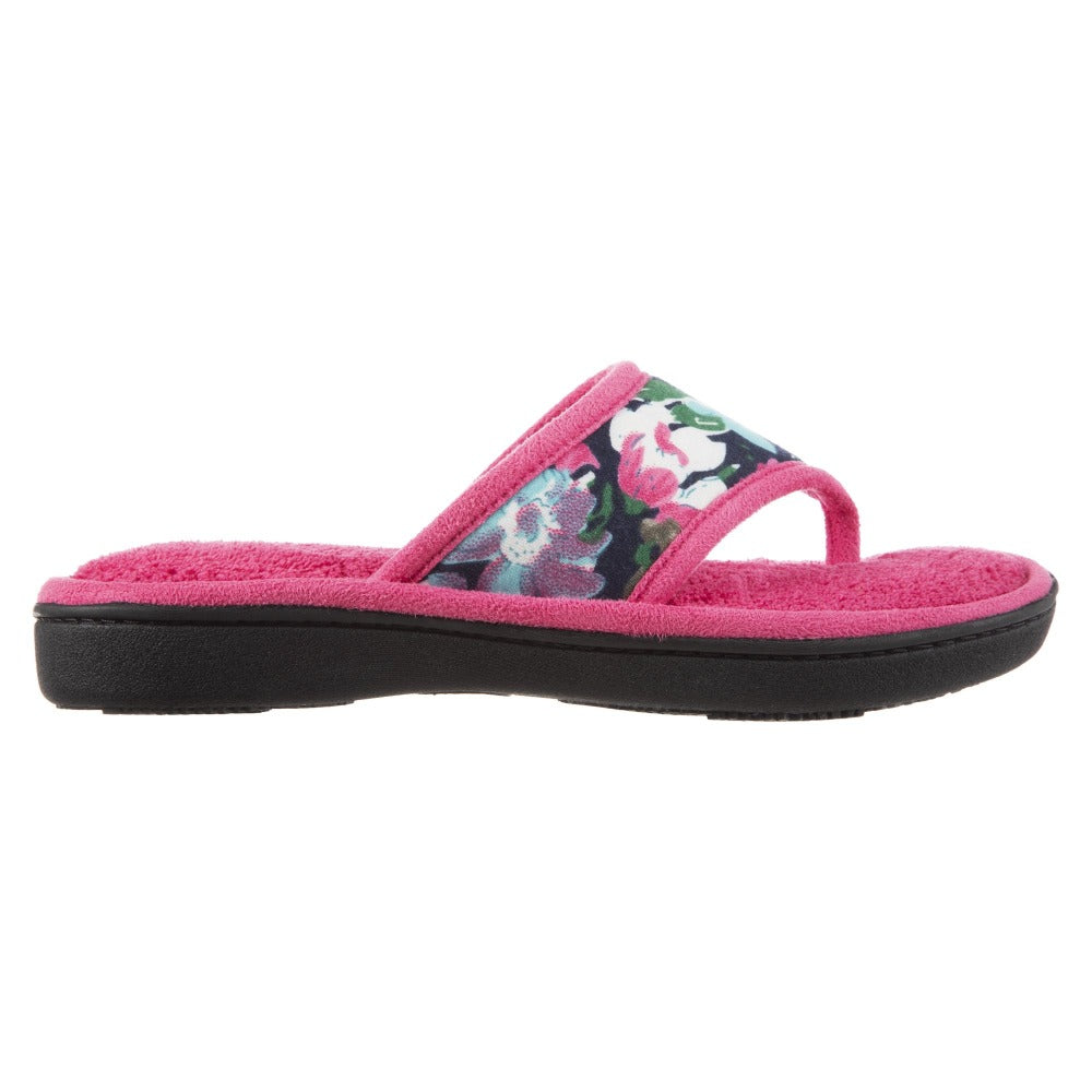 Women's Petunia Floral Thong Slipper Strawberry (Pink) Profile View