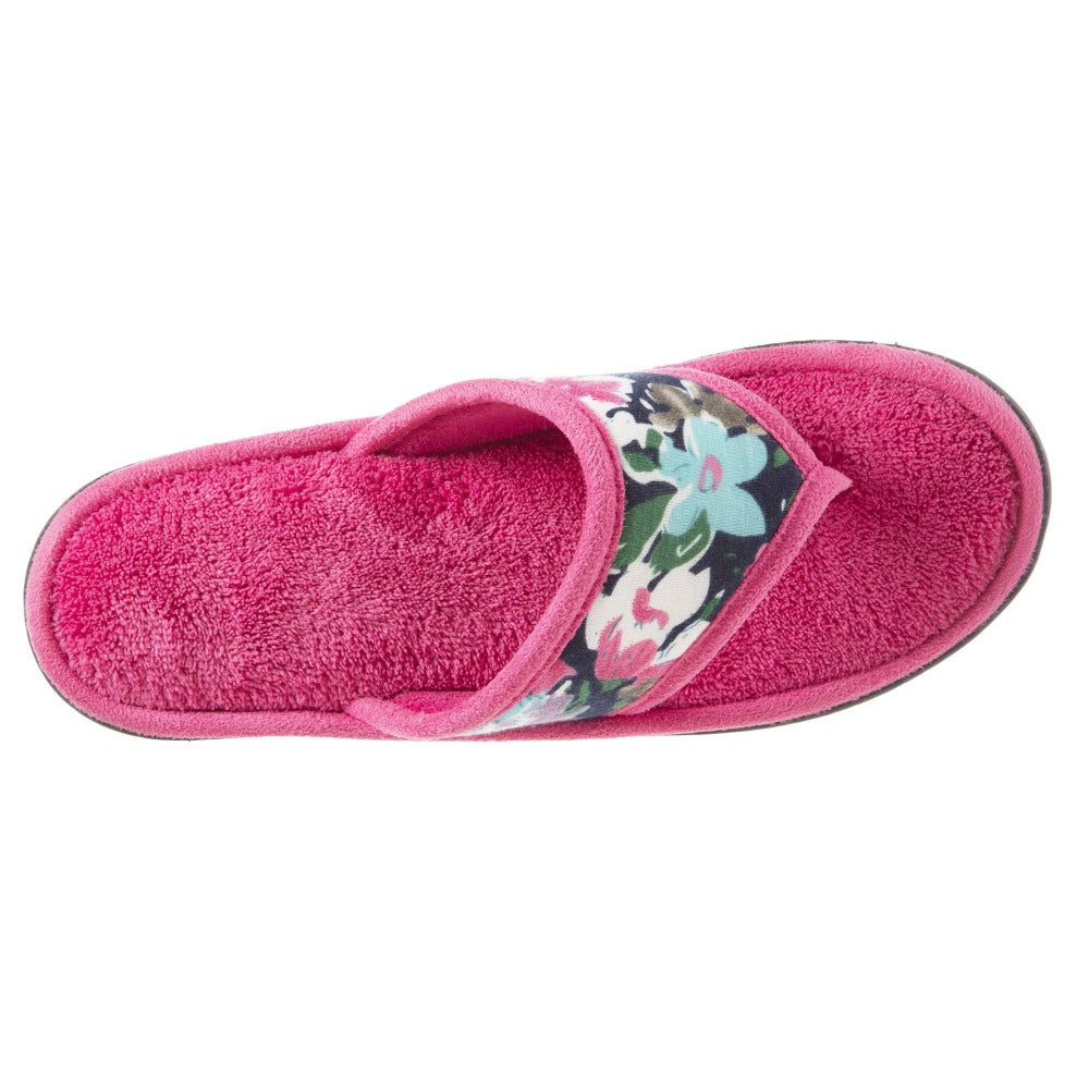 Women's Petunia Floral Thong Slipper Strawberry (Pink) Top View