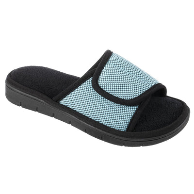 Women's Scout Mesh Adjustable Slide Slippers in Robin's Egg Blue Right Angled View