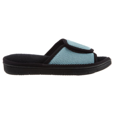 Women's Scout Mesh Adjustable Slide Slippers in Robin's Egg Blue Profile