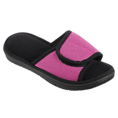 Women's Scout Mesh Adjustable Slide Slippers in Strawberry Bright Pink Right Angled View