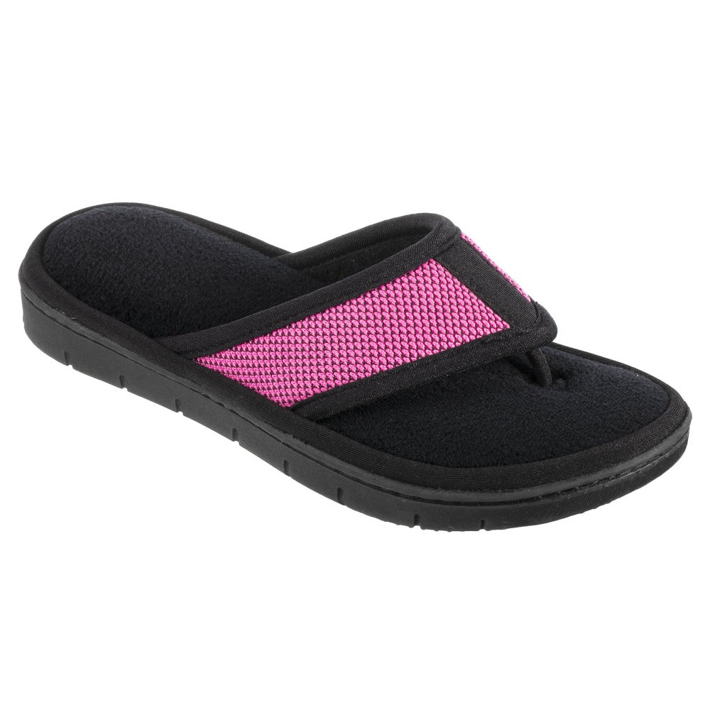 Women's Scout Mesh Thong Slippers in Strawberry Bright Pink Right Angled View