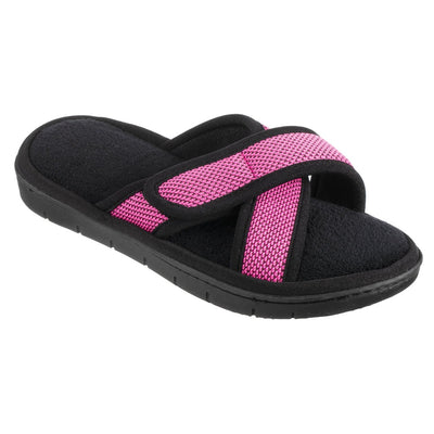 Women's Scout Mesh Cross Slide Slippers in Strawberry Bright Pink Right Angled View
