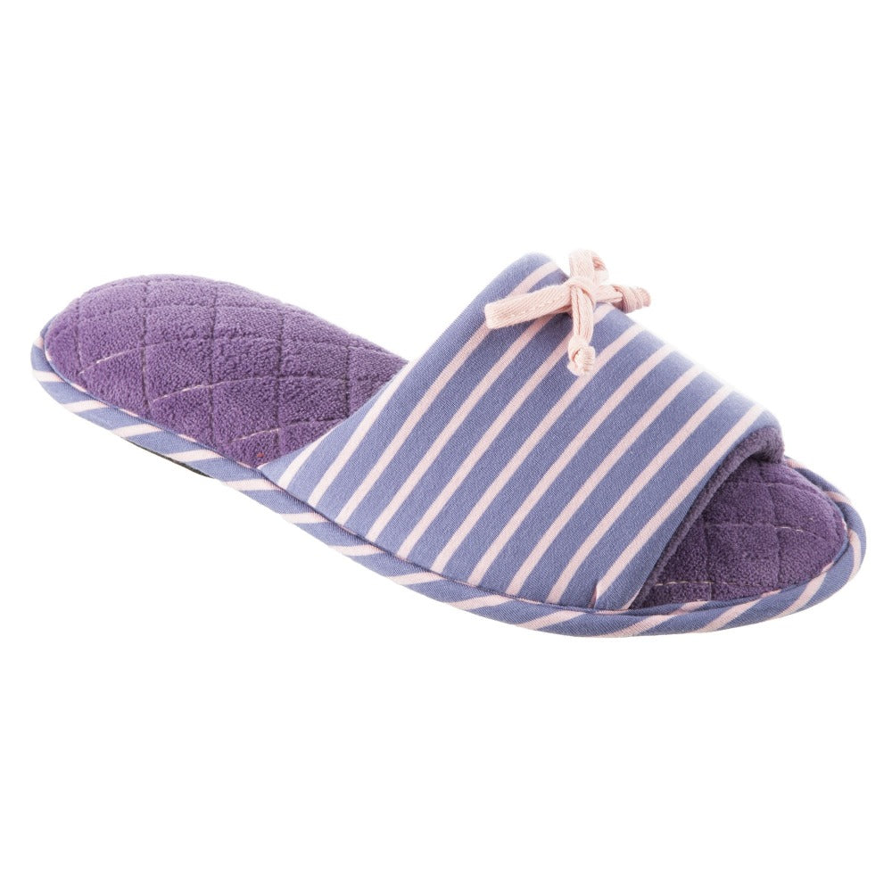 Women's Nani Stripe Slide Slippers in Iris (Purple) Quarter View
