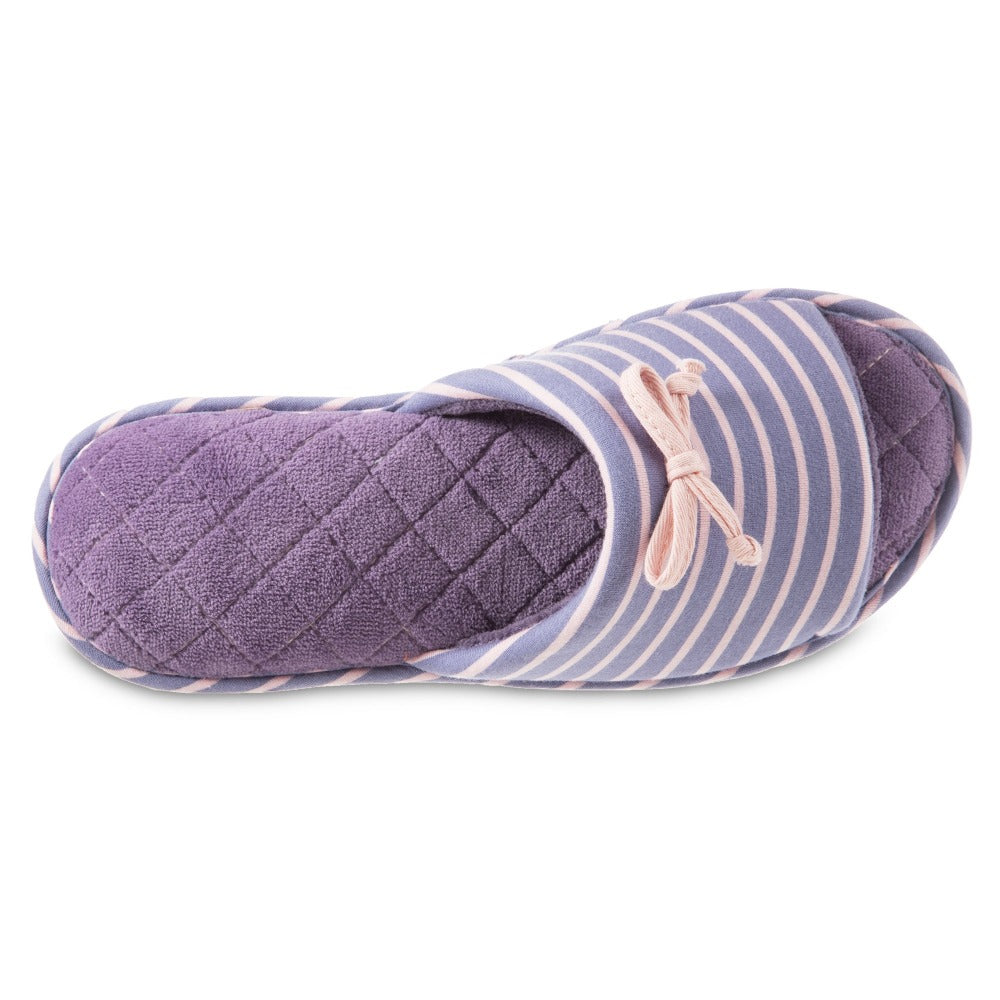 Women's Nani Stripe Slide Slippers in Iris (Purple) Top View