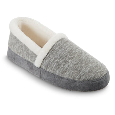 Women's Recycled Heathered Knit Raquel A Line Slipper in Dark Charcoal Heather Right Angled View