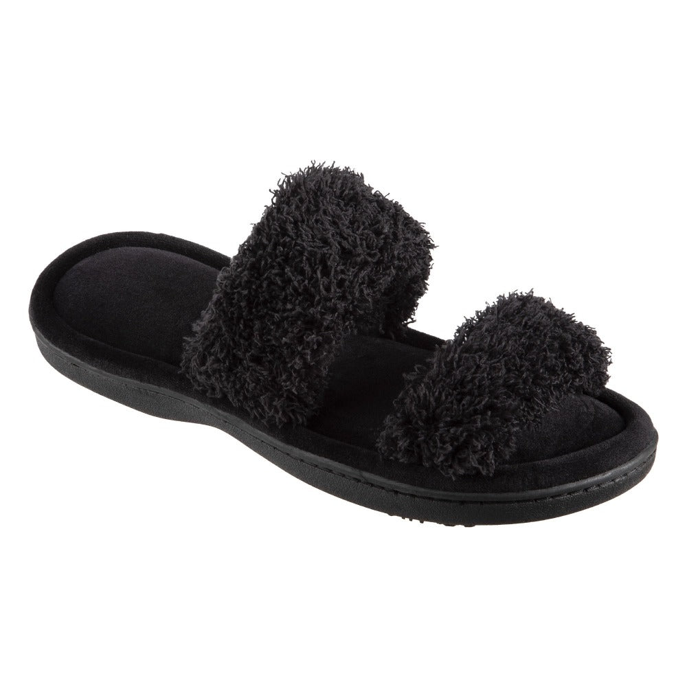 Women's Parker Chenille 2-Band Slide Slippers in Black Quarter View