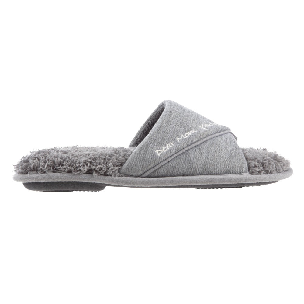 Women's Mother's Day Slide Slippers in Ash Grey Side Profile View