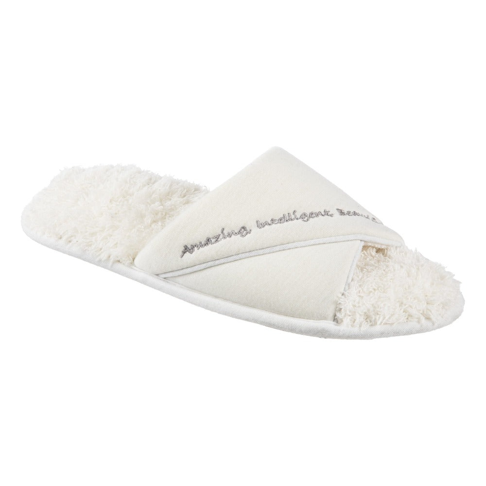 Women's Mother's Day Slide Slippers Ewe (White) Quarter View
