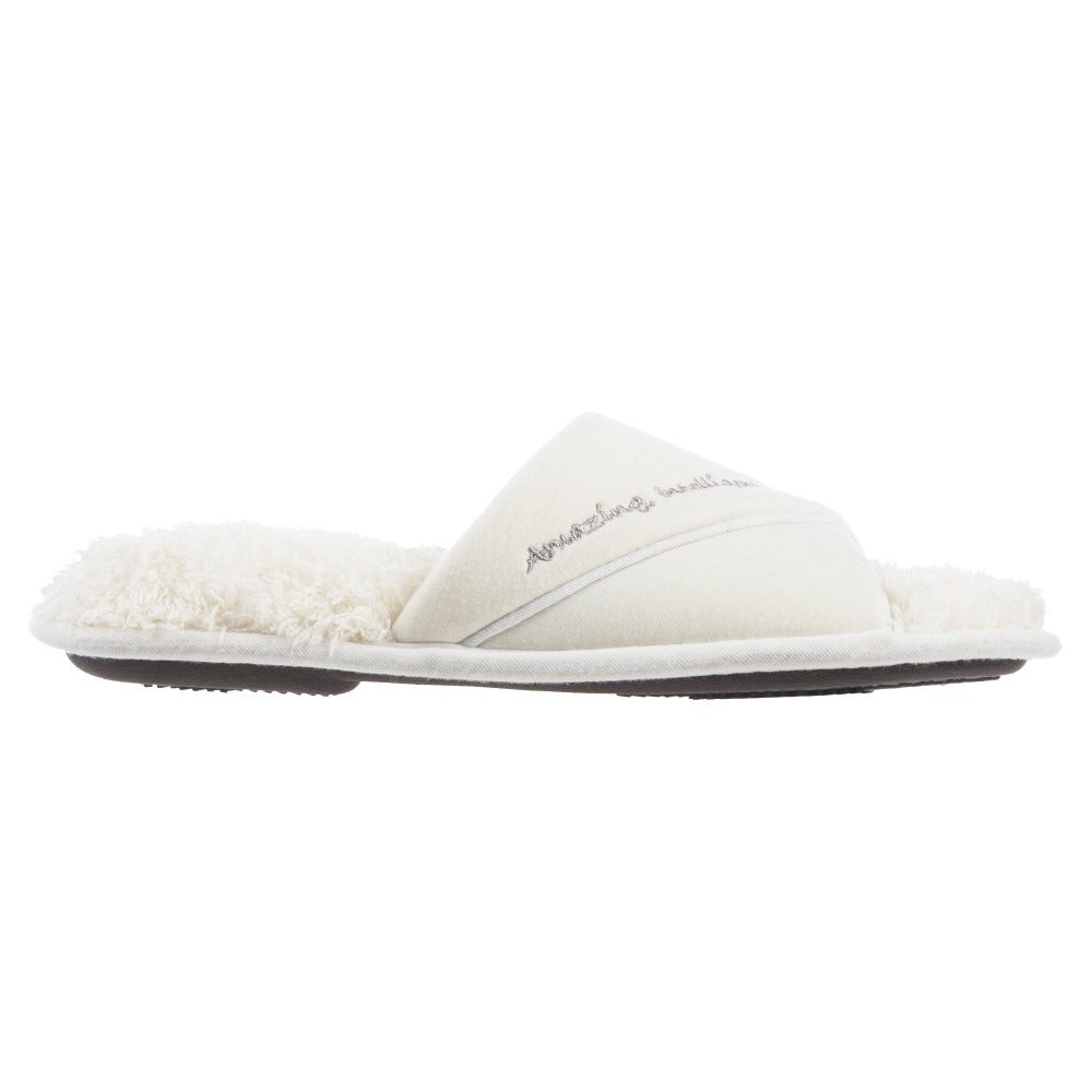 Women's Mother's Day Slide Slippers Ewe (White) Profile View