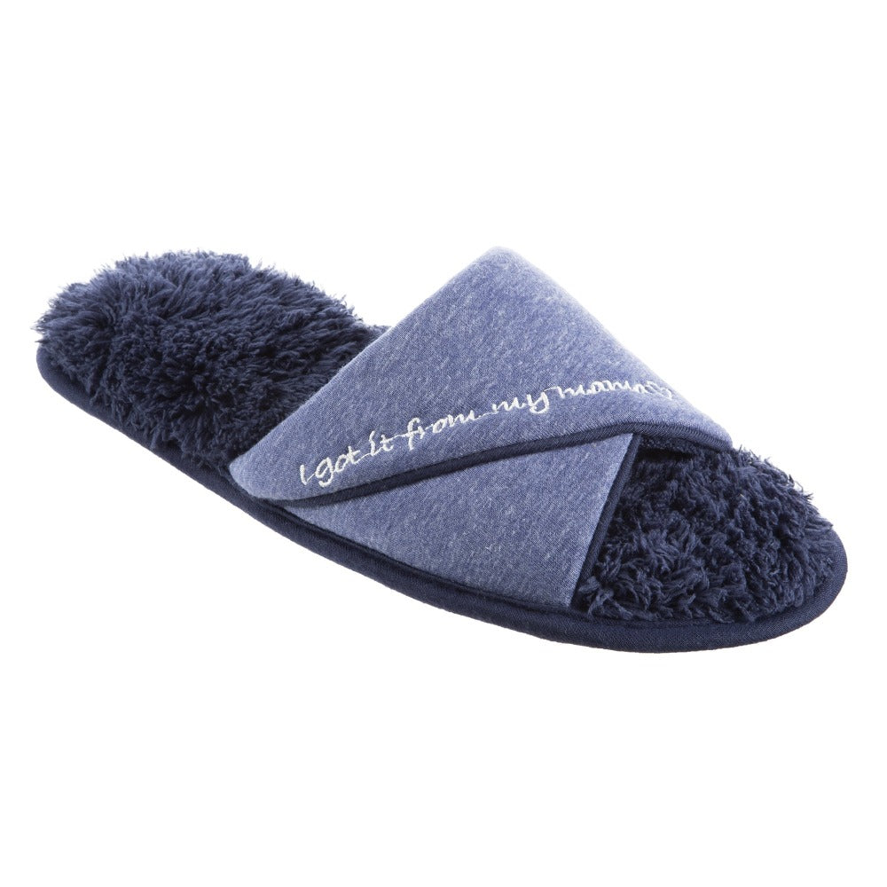 Women's Mother's Day Slide Slippers Navy Blue Quarter View