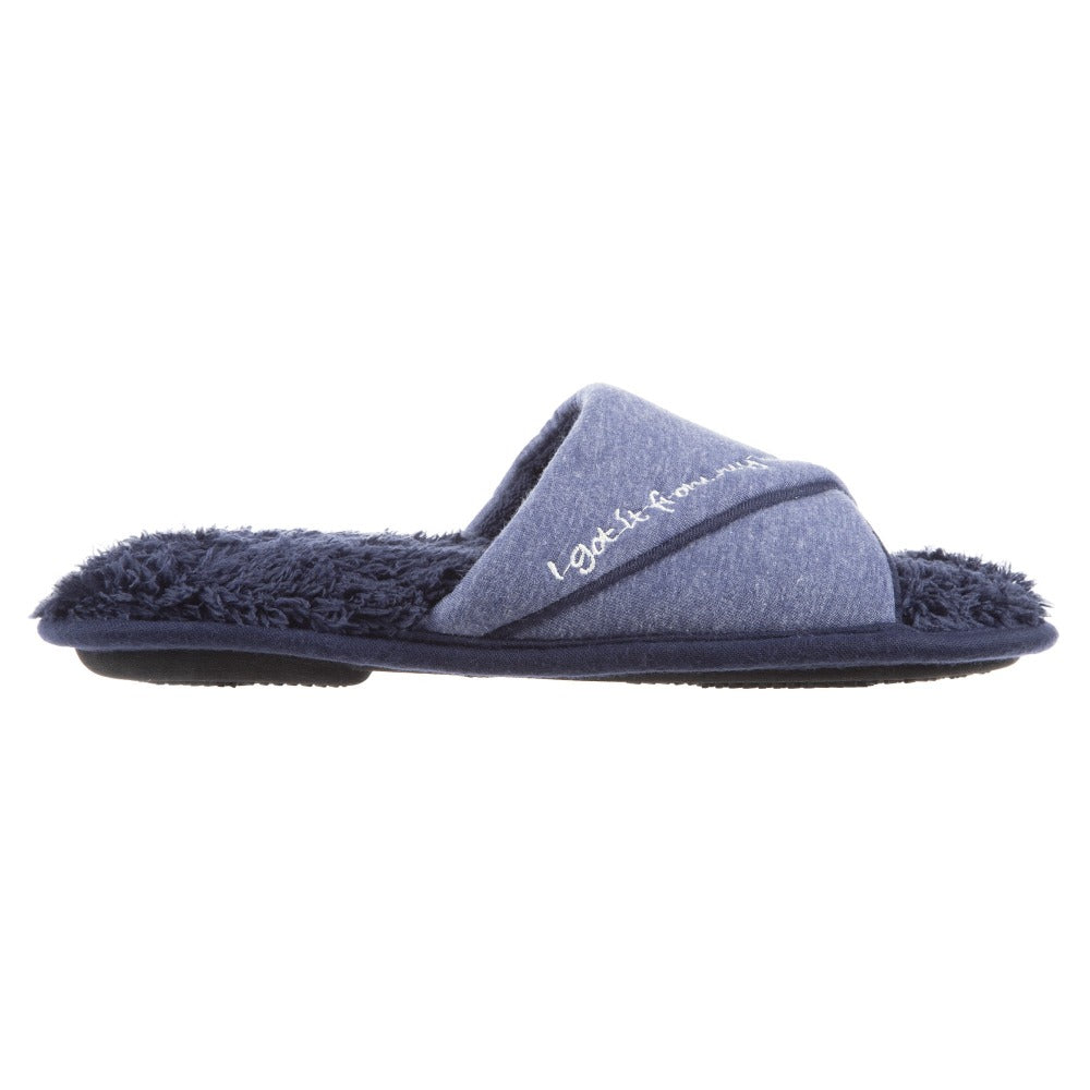 Women's Mother's Day Slide Slippers Navy Blue Side Profile