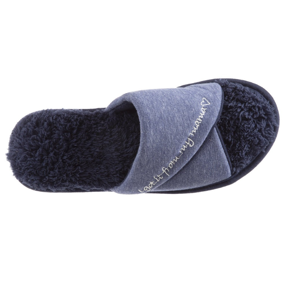 Women's Mother's Day Slide Slippers Navy Blue Top View quote reads I got it from my mama