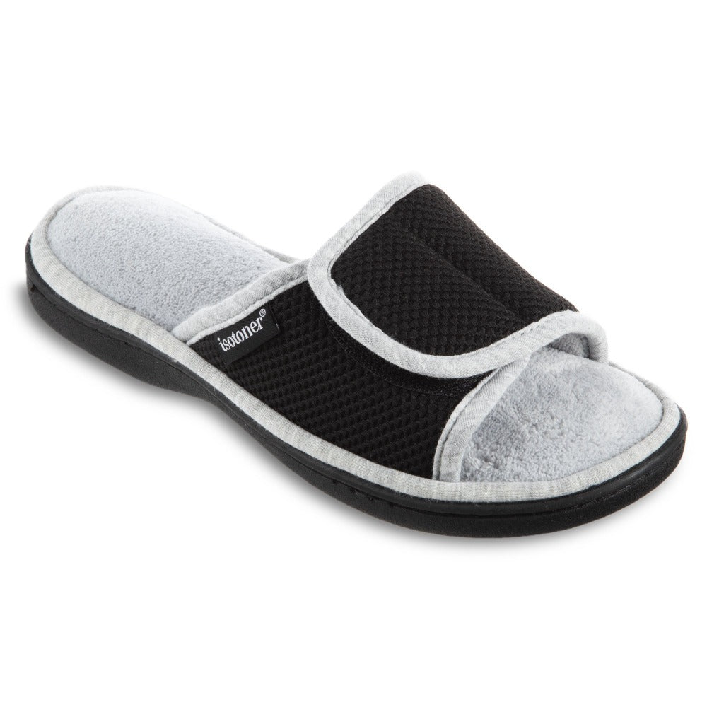 Women's Adjustable Slide Slippers in Black Right Angled View