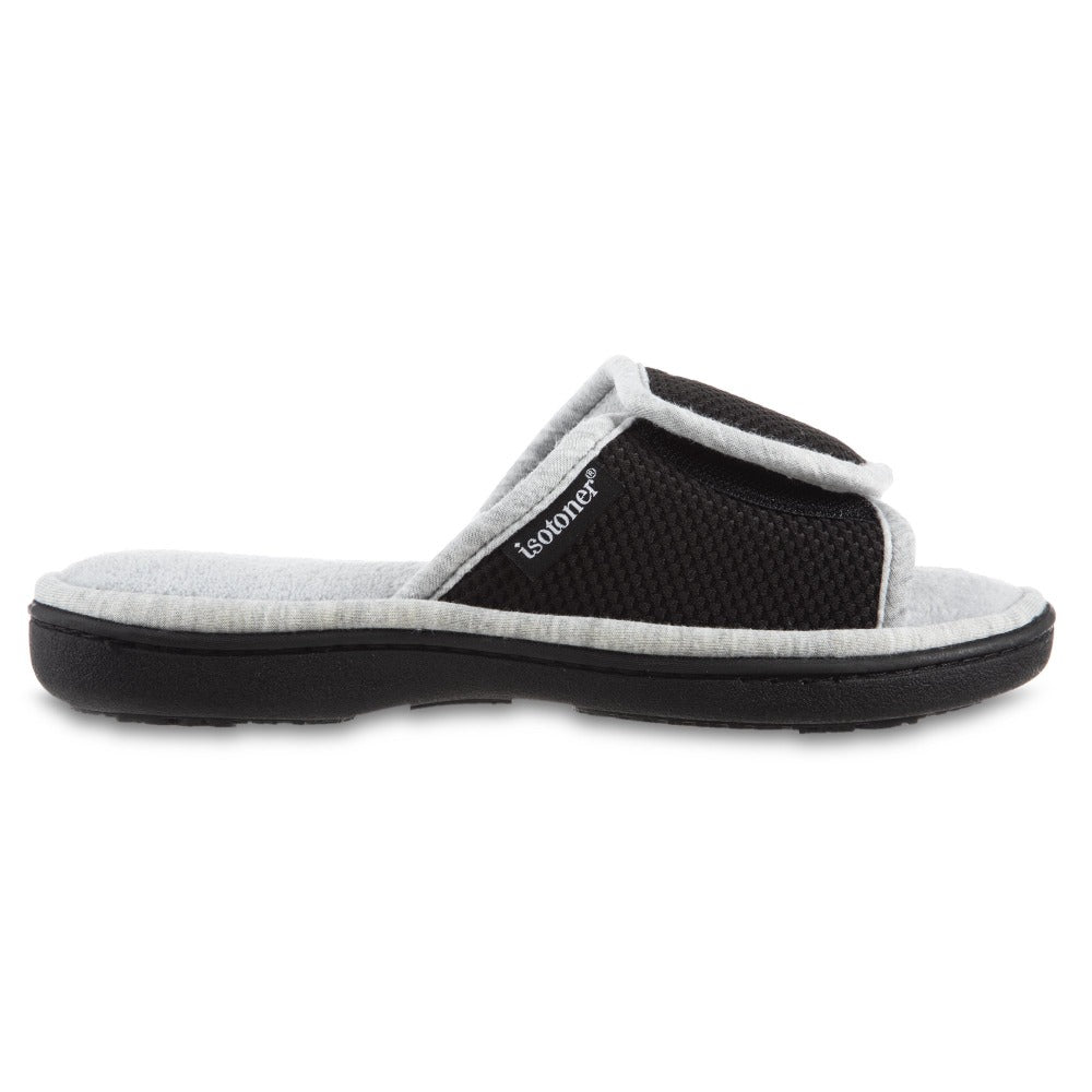 Women's Adjustable Slide Slippers in Black Profile