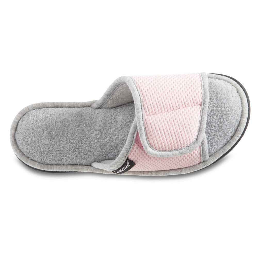 Women's Adjustable Slide Slippers in Peony Pink Inside Top View
