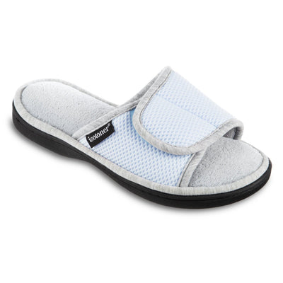 Women's Adjustable Slide Slippers in Pale Blue Right Angled View