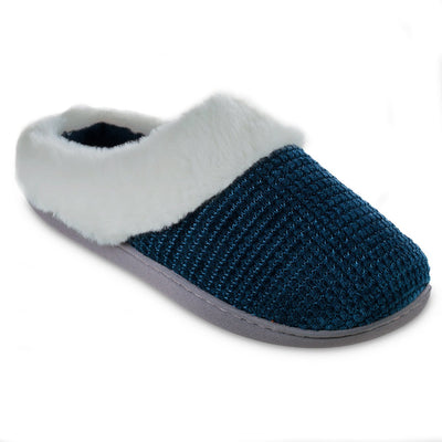 Women's Chenille Ann Hoodback Slippers in Blue Lagoon Right Angled View