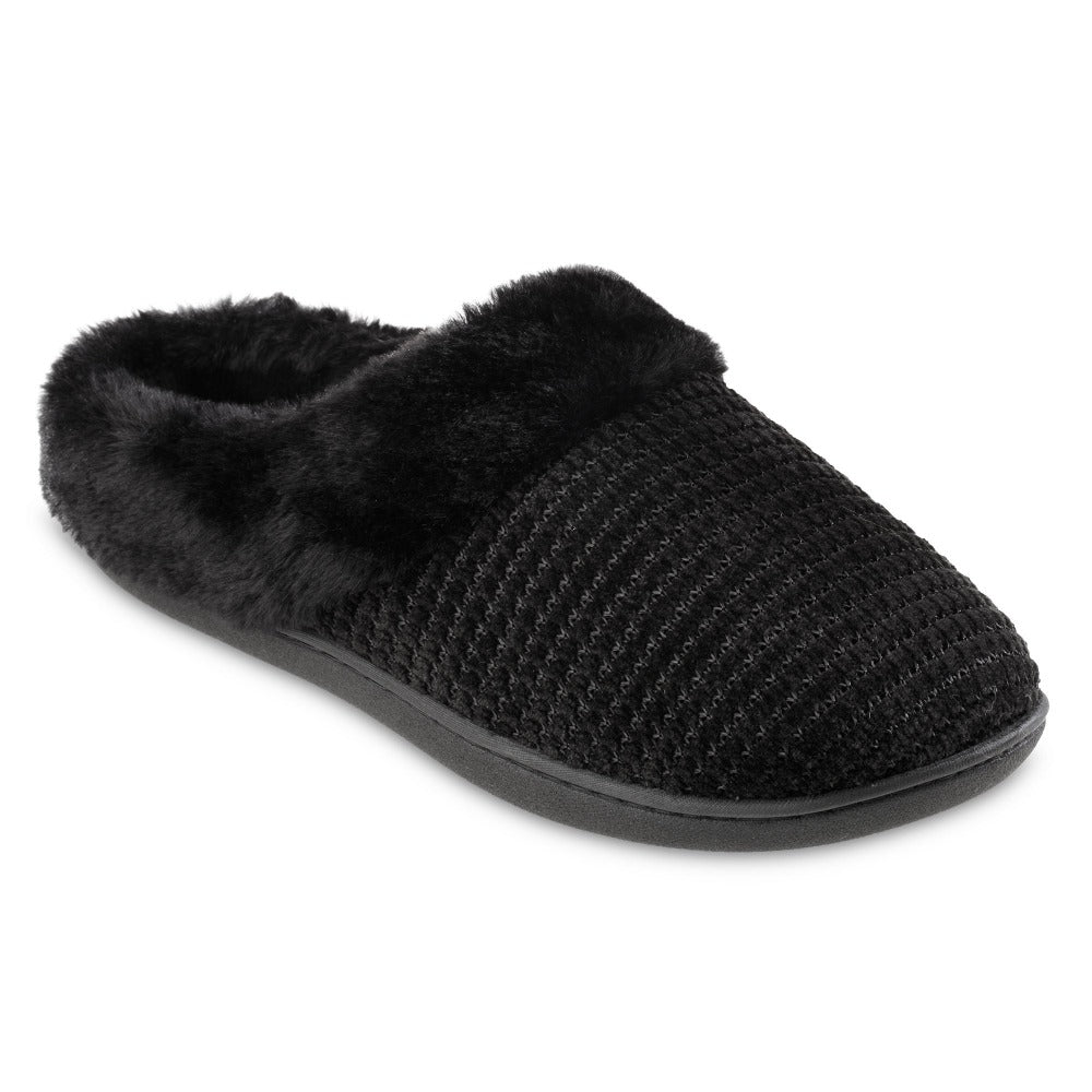 Women's Chenille Ann Hoodback Slippers in Black Right Angled View