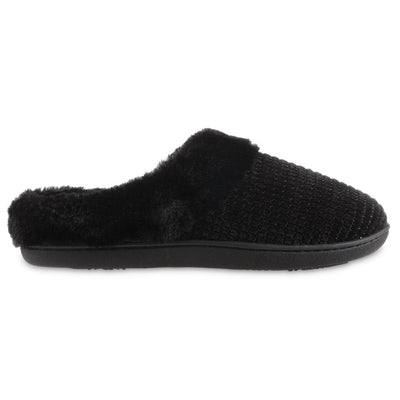 Women's Chenille Ann Hoodback Slippers in Black Profile