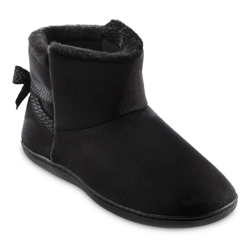 Women's Microsuede Mallory Bootie with Bow Slippers in Black Right Angled View