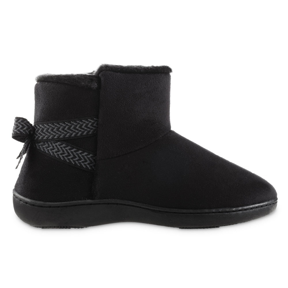 Women's Microsuede Mallory Bootie with Bow Slippers in Black Profile
