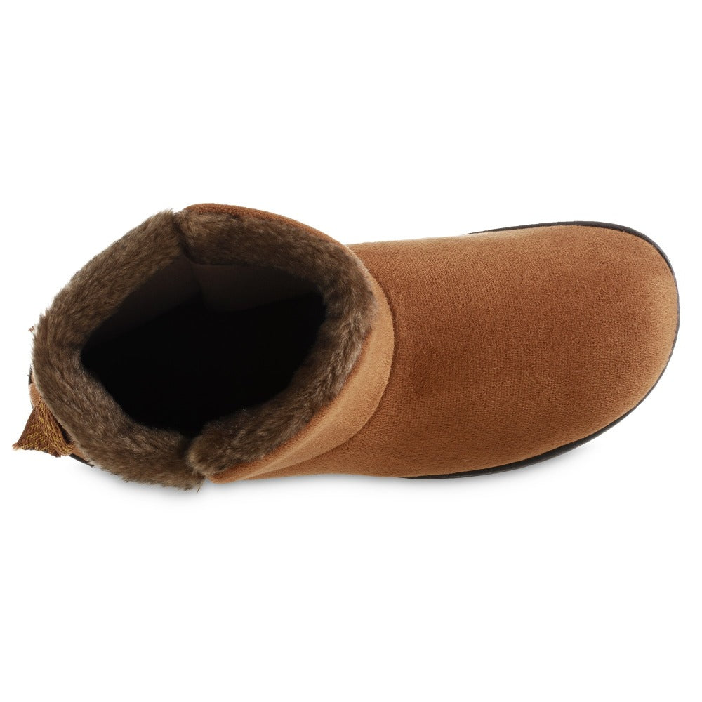 Women's Microsuede Mallory Bootie with Bow Slippers in Cognac Top Inside View